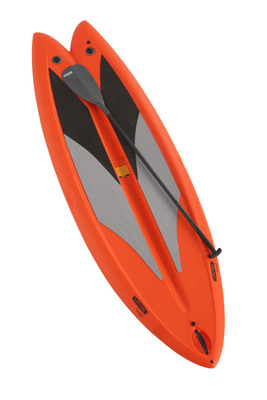 "The Lifetime Freestyle Paddleboard was created with beginners in mind and provides greater stability and tracking in both surf and flat water than other stand-up paddleboards, with two adjustable fins to increase performance in diverse water conditions. With its unique design and smaller than average 9'8"" size, the Lifetime Paddleboard is lightweight and easy to maneuver and transport. And, unlike many paddleboards currently on the market, the Lifetime Freestyle Paddleboard also includes an adjustable fiberglass paddle.  (PRNewsFoto/Lifetime Products, Inc.)"