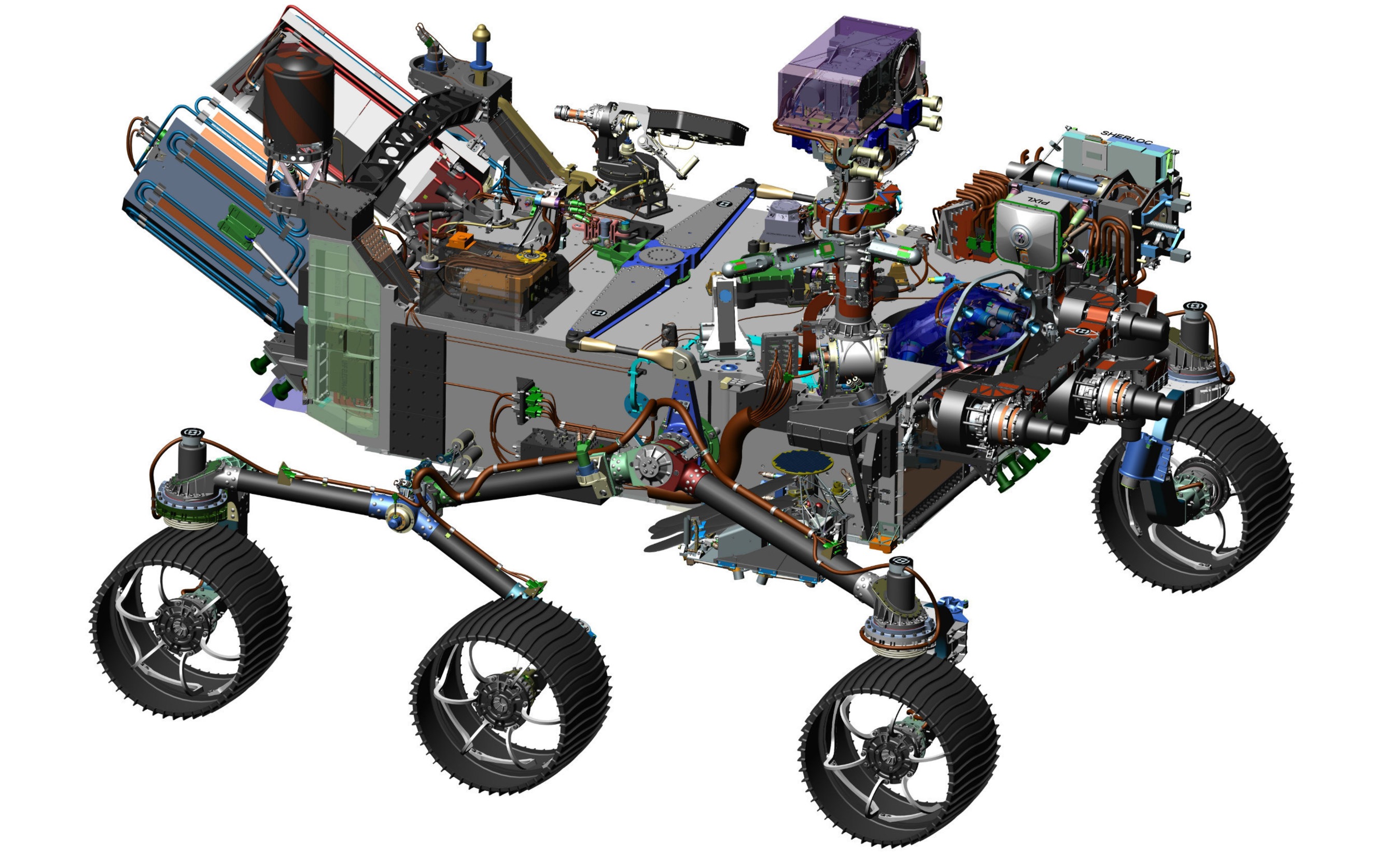 This image is from computer-assisted-design work on the Mars 2020 rover. The design leverages many successful features of NASA's Curiosity rover, which landed on Mars in 2012, but also adds new science instruments and a sampling system to carry out new goals for the 2020 mission.