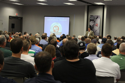 "Participants in the Automotive Lift Institute's (ALI) Lift Inspector Certification Program will have the rare opportunity to complete several program requirements over a three-day period this fall. An ""all-in-one"" session will be held Nov. 6-8 during the SEMA Show in Las Vegas, featuring a Participant's Orientation, group study and exams. Interested participants must register by Sept. 20. The ""all-in-one"" event's Participant's Orientation and group study activities are included in the Lift Inspector Certification Program fee, which is discounted to $1,000 through Dec. 31. The fee also includes extensive course materials. Additional fees will be required for those taking an exam.  (PRNewsFoto/Automotive Lift Institute (ALI))"
