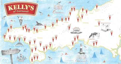 Ice cream Excursion map that guests will be given on arrival, showing all the best places to enjoy ice cream in Cornwall (PRNewsFoto/Kelly's of Cornwall)