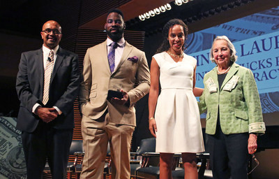 Teachers College, Columbia University honored former NY Giants Defensive End Justin Tuck and his wife Lauran Tuck, who also gave the keynote address during an event highlighting its Cowin Financial Literacy Program on April 21. Pictured (l.-r.): Cowin program faculty director and Teachers College professor Anand Marri, Justin Tuck, Lauran Tuck, Teachers College trustee and program founder Joyce B. Cowin.