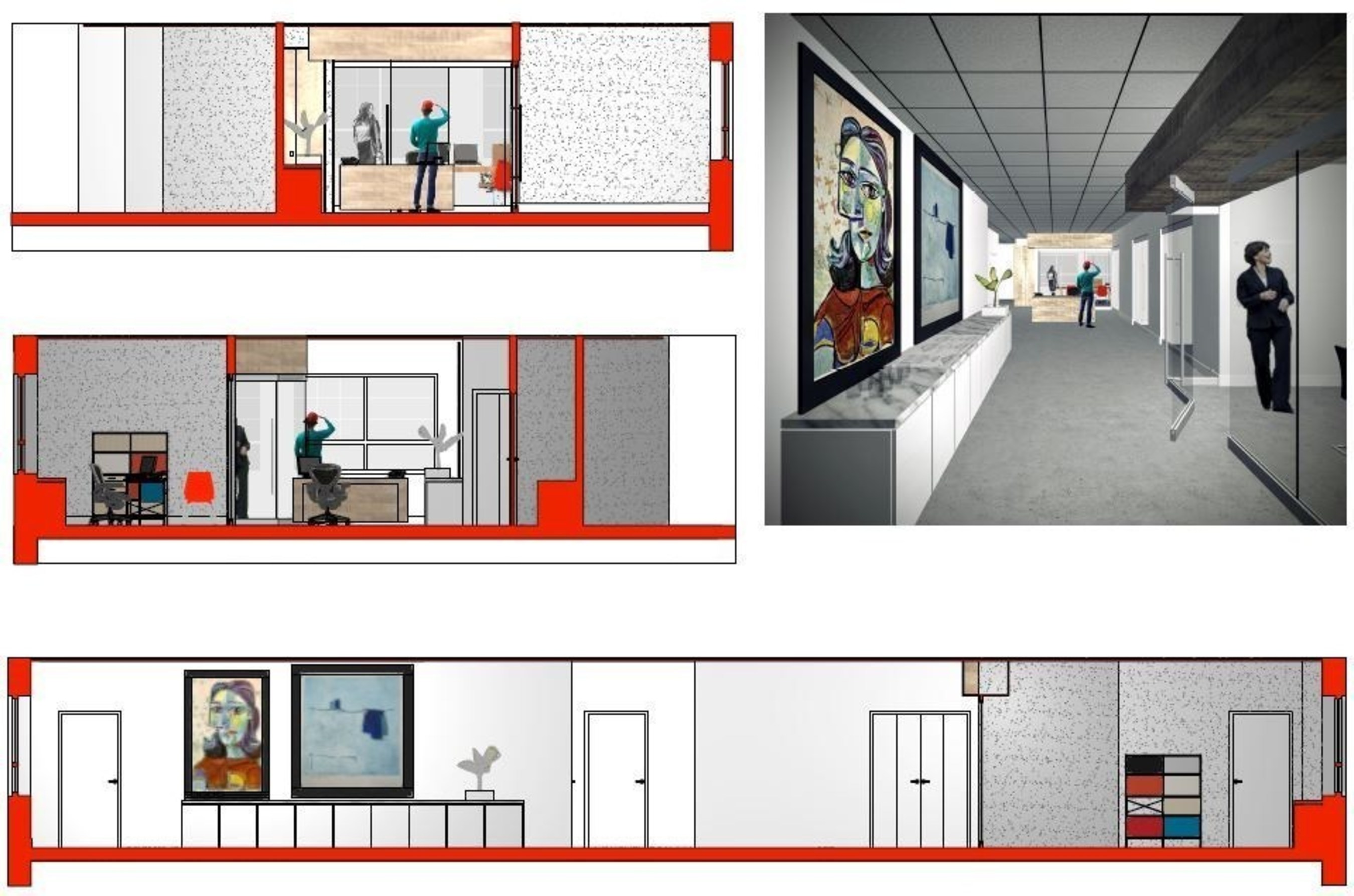 Renderings of Lenox Hill Construction's new executive office space, courtesy of Ron Kwaske, Architect.