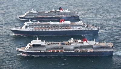 Cunard's three Queens - Queen Mary 2, Queen Elizabeth and Queen Victoria.