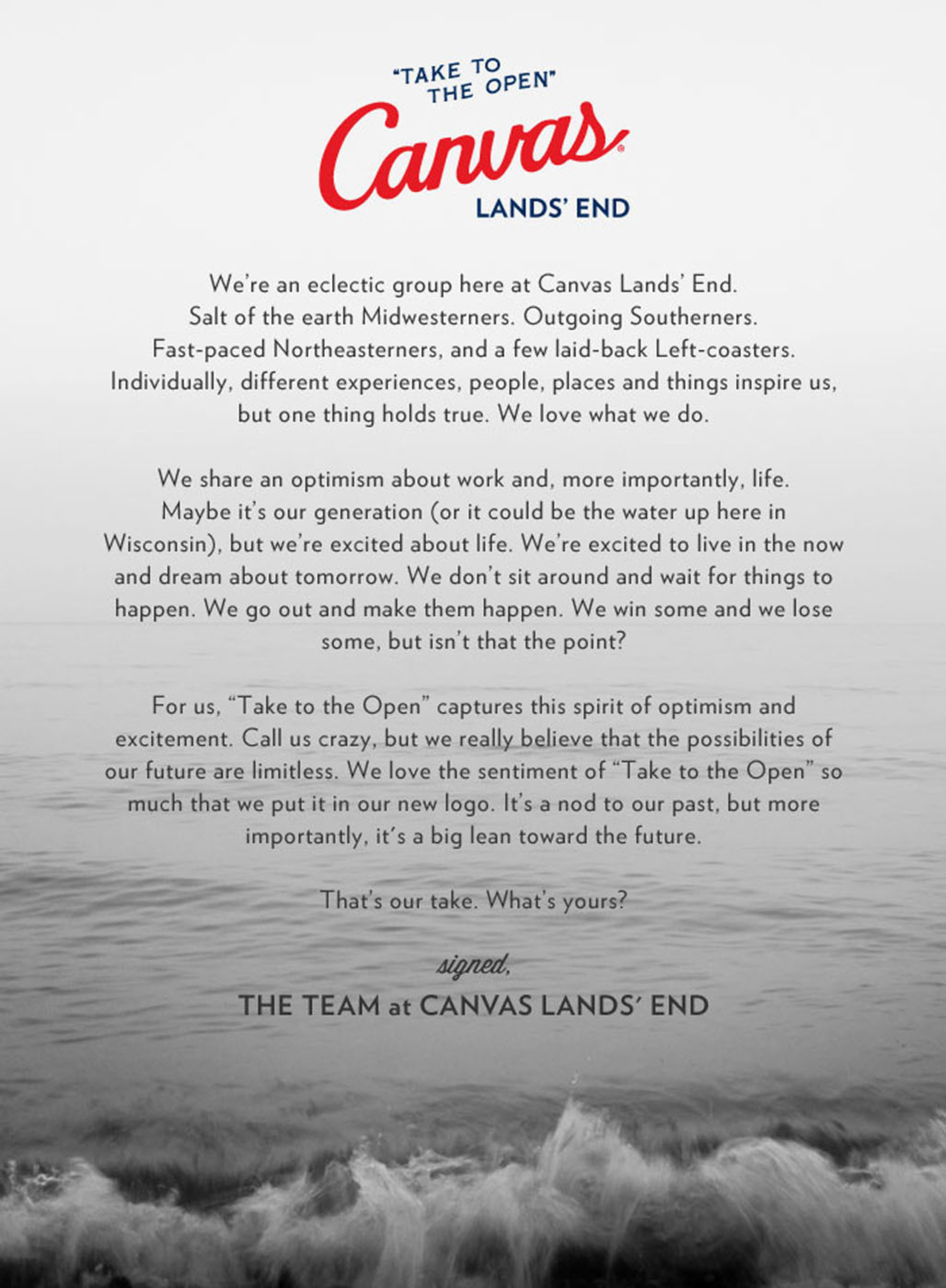 Canvas Lands' End Looks to the Future, Unveils New Logo, Sentiment and Fall Collections.  (PRNewsFoto/Canvas Lands' End)