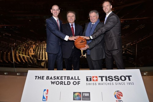From left to right : NBA Commissioner Mr. Adam Silver, Tissot President Mr. François ThiÃ(C)baud, President of the International Basketball Foundation (IBF) Mr. Yvan Mainini, Director Summer Sports, head of basketball (board member Infront China) Mr. Benedikt Von Dohnanyi (PRNewsFoto/TISSOT S.A.)