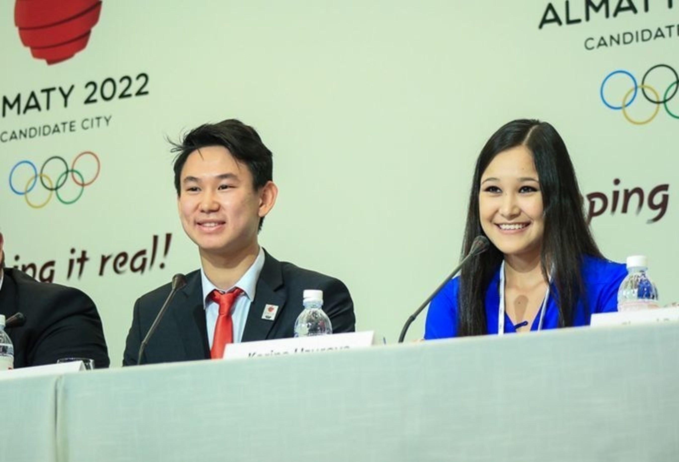 Mr. Denis Ten, Kazakhstan National Team Ice Dancer and Ms. Karina Uzurova, Innsbruck 2012 Youth Olympian (PRNewsFoto/Almaty 2022 Candidate city) (PRNewsFoto/Almaty 2022 Candidate city)
