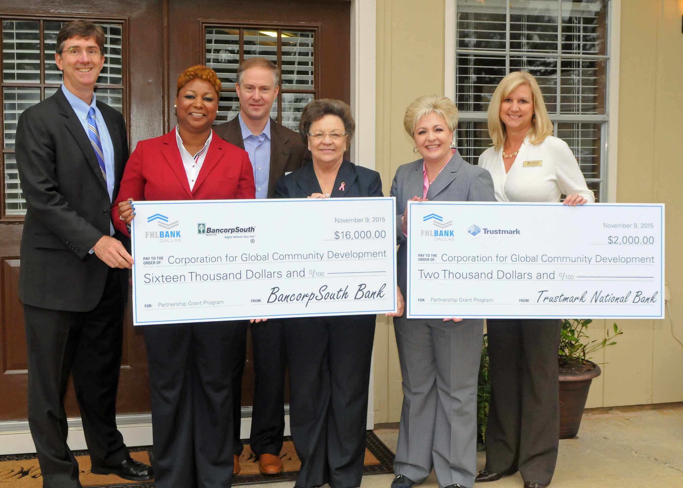 The Corporation for Global Community Development (CGCD) today received an $18,000 Partnership Grant Program award from BancorpSouth Bank, Trustmark National Bank, and the Federal Home Loan Bank of Dallas. The funds will be used for operational and administrative expenses. CGCD also dedicated the Dorothy L. Biard Hearts of Compassion Independent Living for Seniors Center.