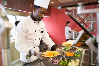 Aramark who serves millions of college consumers every day on 500 campuses across the U.S. and Canada, has transformed campus dining with action cooking stations offering made-to-order, customizable options, popular franchise brands and healthy, quick grab 'n go.