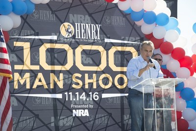 Anthony Imperato, President of Henry Repeating Arms welcomes the crowd at the Henry 1000 Man Shoot held at the Ben Avery Shooting Facility on Monday, November 14, 2016.
