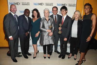 "WebMD Health Hero Advocate Winner Ronald ""Jake"" Clark, WebMD Health Hero Scientist Award Winner Dr. Bennet I. Omalu, Fran Drescher, WebMD Health Hero People's Choice Award Winner Glenn Close, CEO WebMD David Schlanger, WebMD Health Hero Prodigy Award Winner Kenneth Shinozuka, Jessie Close and Good Morning America co-host Robin Roberts Attend the WebMD Health Hero Awards Gala at TimesCenter on November 5, 2015"