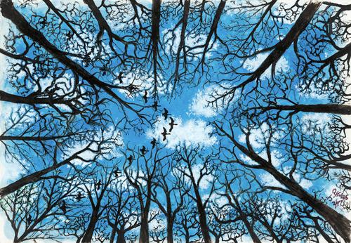 WINTER WOODS (watercolor) John Francis Peters.  (PRNewsFoto/John Francis Peters Art)