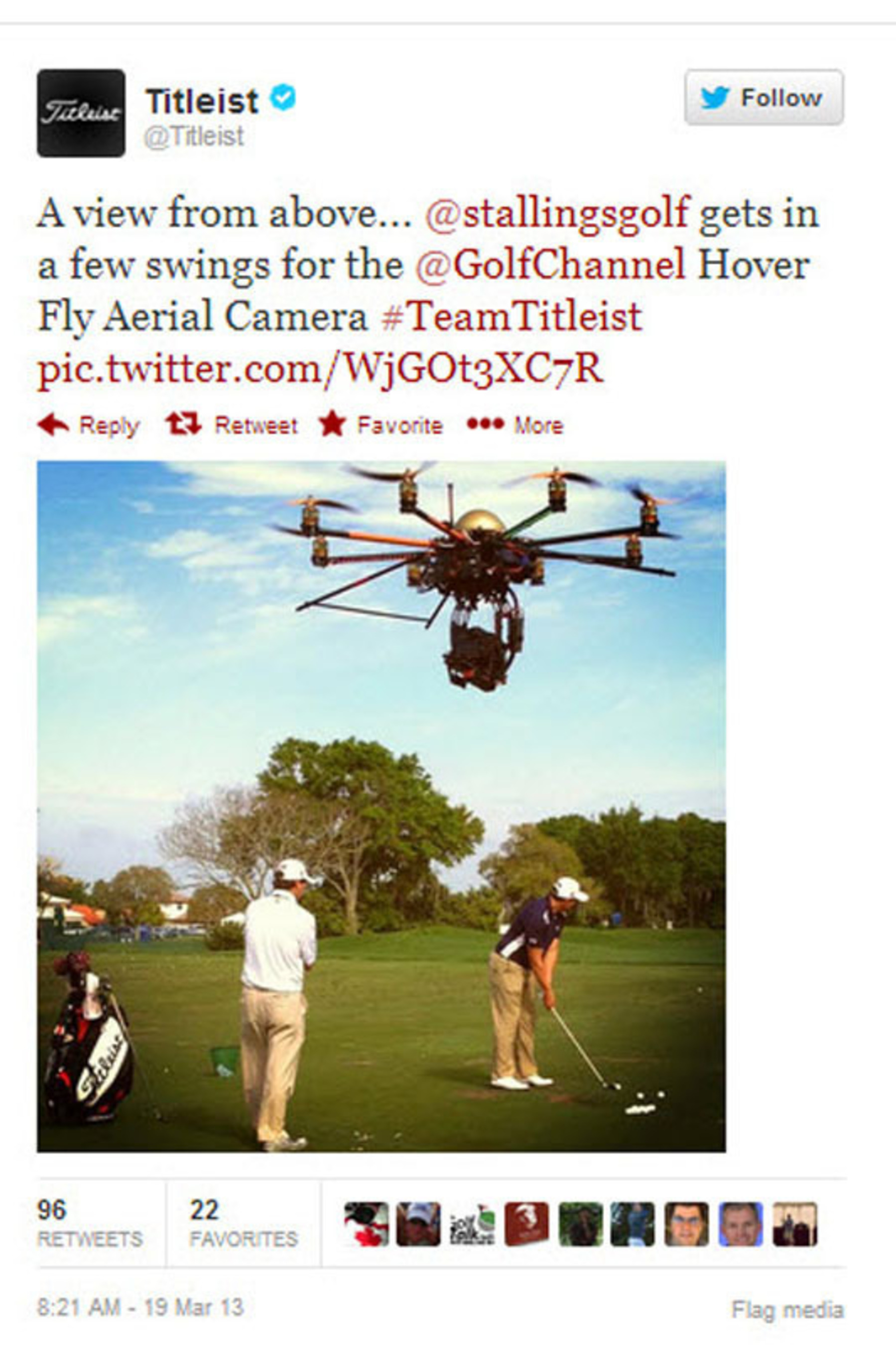 Hoverfly Titelist Tweet.  (PRNewsFoto/Hoverfly Technologies)