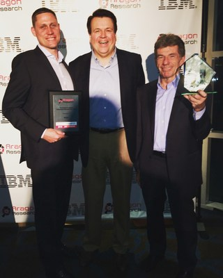 Aragon Research recognizes Nintex as the 2016 Innovator in Workflow and Content Automation (WCA) and as a 2016 Hot Vendor in Digital Transaction Management (DTM). Pictured left to right: Nintex CFO Eric Johnson, Aragon CEO Jim Lundy, and Nintex CEO John Burton.