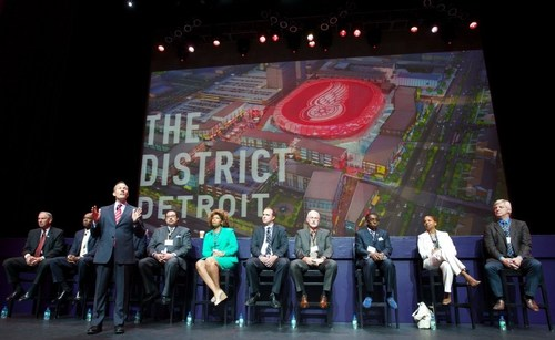 Chris Ilitch welcomes more than 300 Detroit-based contractors who attended the One District, Many Opportunities outreach event to learn more about opportunities for construction of the District Detroit and new arena (PRNewsFoto/Olympia Development of Michigan)