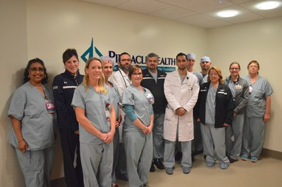 Members of the PinnacleHealth CardioVascular Institute team that performed the first NeoChord procedure in Pennsylvania on November 29, 2016.L to R, back row: Corve Ransom, RN; Regina Hollister, RN, valve clinic coordinator/structural heart program; Cathy Drenning, scrub tech; Roberto Hodara, MD, echo cardiologist; Mubashir Mumtaz, MD, chief of cardiothoracic surgery and surgical director of structural heart; Mark Moquin, PA-C; Anthony Stebbins, Scrub Tech; Birgitta Sheeder, scribe; Alicia Deibert, RN L to R front row: Nicole Shipp, RCIS; Courtney Rodgers, RN, research coordinator; Atizazul Mansoor, MD, echo cardiologist; Suzanne Hughes, LPN, RCIS