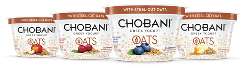 Chobani Greek Yogurt Oats is chilled, hearty and satisfying, with creamy, authentically strained Greek Yogurt mixed with real ripe fruit and whole grain steel-cut oats. (PRNewsFoto/Chobani, LLC)