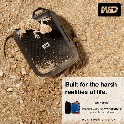 Built for the harsh realities of life.  WD Nomad(TM) Rugged Case for My Passport(R) portable hard drives.  (PRNewsFoto/Western Digital Technologies)
