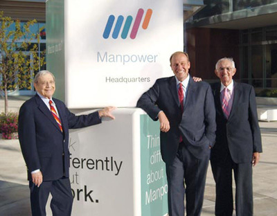 Fromstein (left), who passed away yesterday, pictured in 2008 with the only other two CEOs in ManpowerGroup's history: current Chairman and CEO Jeff Joerres (middle) and first CEO and co-founder Elmer Winter (right). (PRNewsFoto/ManpowerGroup) (PRNewsFoto/MANPOWERGROUP)