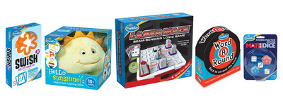 Tweens will cheer for ThinkFun's Laser Maze(TM) (center), the first logic game with a real laser debuting at Toy Fair, Booth 2251. ThinkFun's innovative line up for 2013 also features Hello Sunshine!(TM), the first hide & seek toddler game (center left); WordARound(TM), the first circle-shaped word game (center right); as well as Swish(R) Jr. (left) and Math Dice(R) Powers Edition (right), new twists to popular favorites.  ThinkFun is the world's leader in addictively fun games that sharpen your mind. www.thinkfun.com.  (PRNewsFoto/ThinkFun)