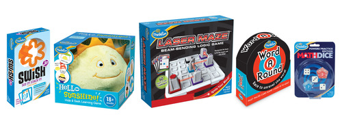 Tweens will cheer for ThinkFun's Laser Maze(TM) (center), the first logic game with a real laser debuting at Toy Fair, Booth 2251. ThinkFun's innovative line up for 2013 also features Hello Sunshine!(TM), the first hide & seek toddler game (center left); WordARound(TM), the first circle-shaped word game (center right); as well as Swish(R) Jr. (left) and Math Dice(R) Powers Edition (right), new twists to popular favorites. ThinkFun is the world's leader in addictively fun games that sharpen your mind. www.thinkfun.com. (PRNewsFoto/ThinkFun) (PRNewsFoto/THINKFUN)