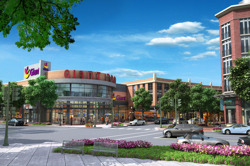 The Bozzuto Group, a Greenbelt, MD-based real estate services company, today announced the official construction commencement of its latest development, Cathedral Commons, a mixed-use community that will include 137 apartments, eight townhomes, 128,000 square feet of retail, and more than 500 parking spaces, all centered around a state-of-the-art Giant Food, the grocery market-share leader across the Washington metropolitan region.  (PRNewsFoto/The Bozzuto Group)