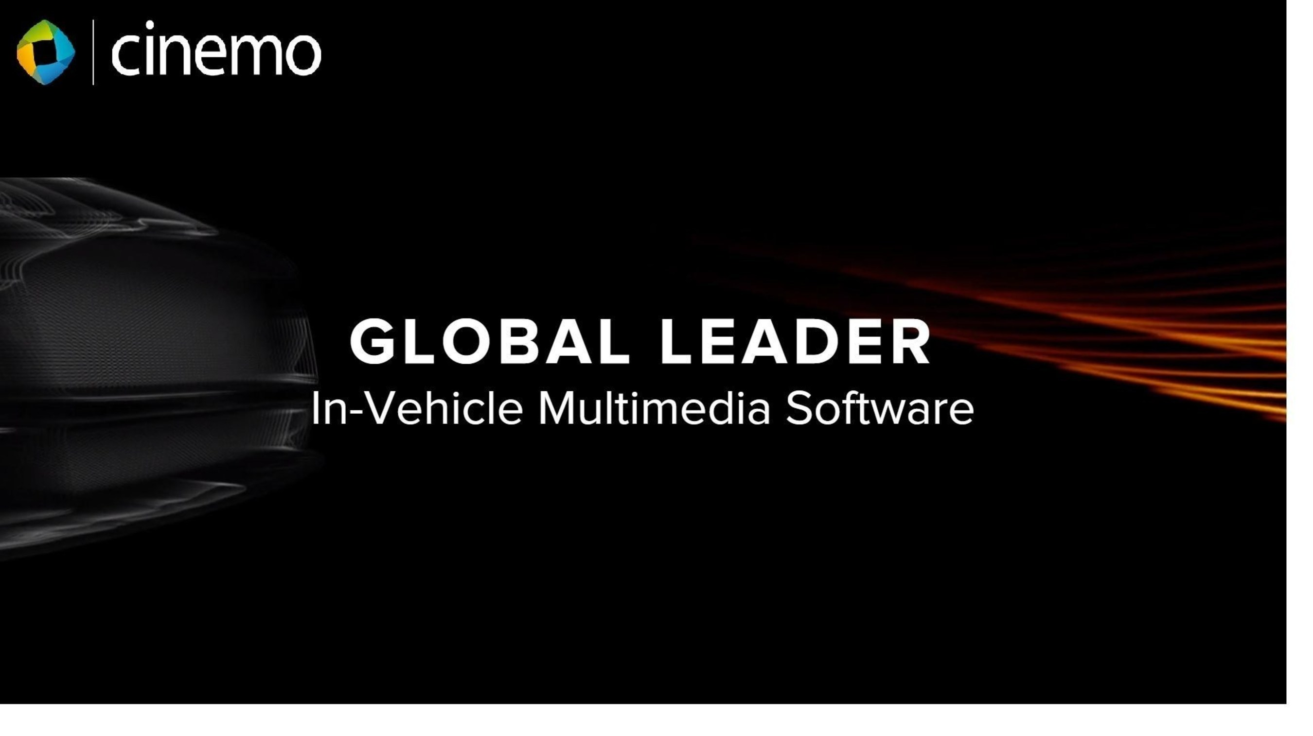 Cinemo is a global leader in automotive grade multimedia playback, streaming, media management and connectivity middleware in the embedded world (PRNewsFoto/Cinemo GmbH) (PRNewsFoto/Cinemo GmbH)