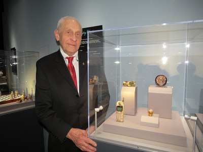 Famous jewelry designer Sidney Mobell helps open special exhibit Jeweled Objects of Desire at Tellus Science Museum.