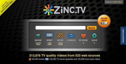Zinc.TV searches and manages internet video from any internet-connected device.  (PRNewsFoto/ZeeVee, Inc.)