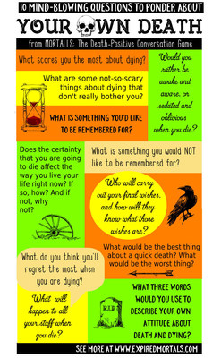 Care to face your own mortality? Here are 10 Mind-Blowing questions to ponder about your own death. From MORTALLS: The Death-Positive Conversation Game (www.expiredmortals.com)