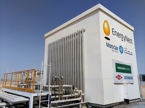 Masdar Institute and EnergyNest initiated a comprehensive joint research project in 2013 for building and testing a 2 x 500 kWhth Thermal Energy Storage (TES) pilot. The pilot facility is now fully operational and has been validated by DNV GL with regards to operating temperature, energy storage capacity, and energy efficiency. (PRNewsFoto/EnergyNest)