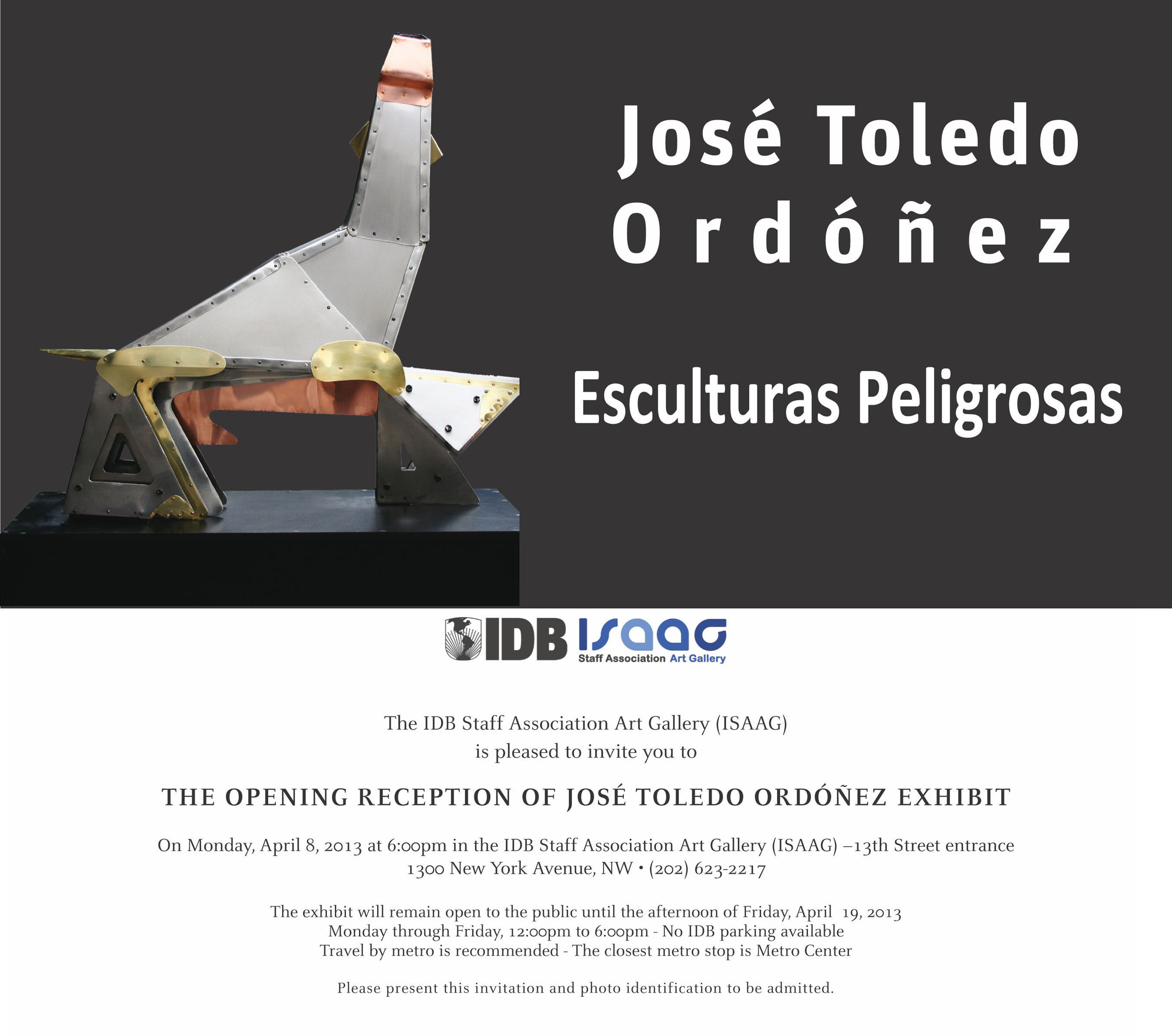 Esculturas Peligrosas (Dangerous Sculptures), Jose Toledo Ordonez, Guatemalan Sculptor, IDB Staff Association Art Galery de Washington DC, 1300 New York Avenue, N.W., Washington, DC, 20577. (PRNewsFoto/Jose Toledo Ordonez) (PRNewsFoto/JOSE TOLEDO ORDONEZ)