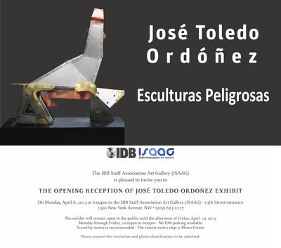 Esculturas Peligrosas (Dangerous Sculptures), Jose Toledo Ordonez, Guatemalan Sculptor, IDB Staff Association Art Galery de Washington DC, 1300 New York Avenue, N.W., Washington, DC, 20577.  (PRNewsFoto/Jose Toledo Ordonez)