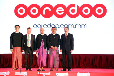 U Myint Zaw, National Sales Director, Ooredoo Myanmar, Ross Cormack, CEO, Ooredoo Myanmar, David Abel, Chief Mentor, Ooredoo Myanmar, U Myat Hein, Union Minister for the Ministry of Communications and Information Technology, The Republic of the Union of Myanmar, Dr Nasser Marafih, Group CEO, Ooredoo stand together following the launch reveal moment at Ooredoo Myanmar's celebratory launch ceremony in Nay Pyi Taw on Thursday evening.