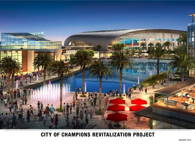Architect's rendering of the proposed City of Champions revitalization project in the city of Inglewood, California. The 298-acre development planned by Stockbridge Capital Group and The Kroenke Group includes an 80,000-seat stadium, 6,000-seat performance venue, a 300-room hotel, 2,500 residential units, 1.7 million square feet of retail and office space and 25 acres of public parks, playgrounds and open space. The project will be built at no cost to taxpayers.