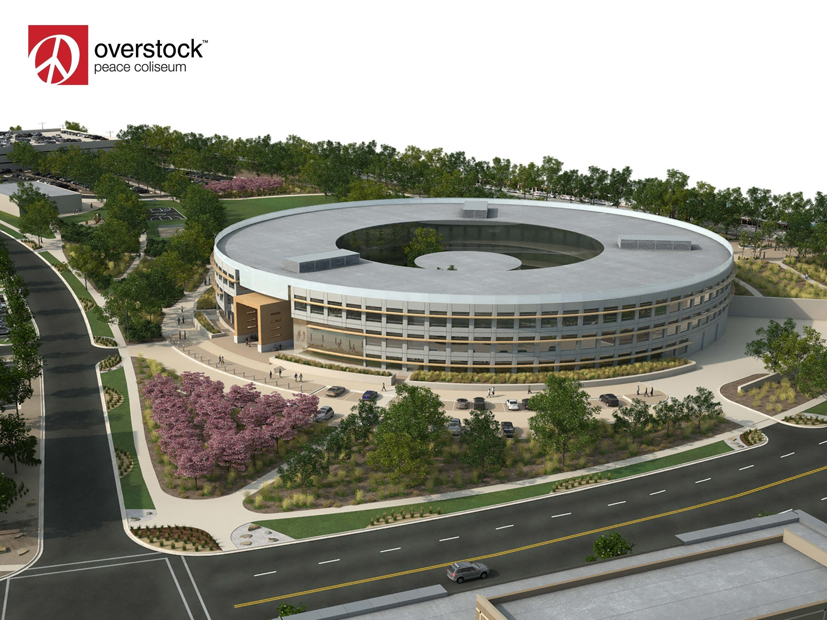"""Aerial View of Overstock.com's New Corporate Campus Referred to as the """"Peace Coliseum."""" (PRNewsFoto/Overstock.com, Inc.)"""