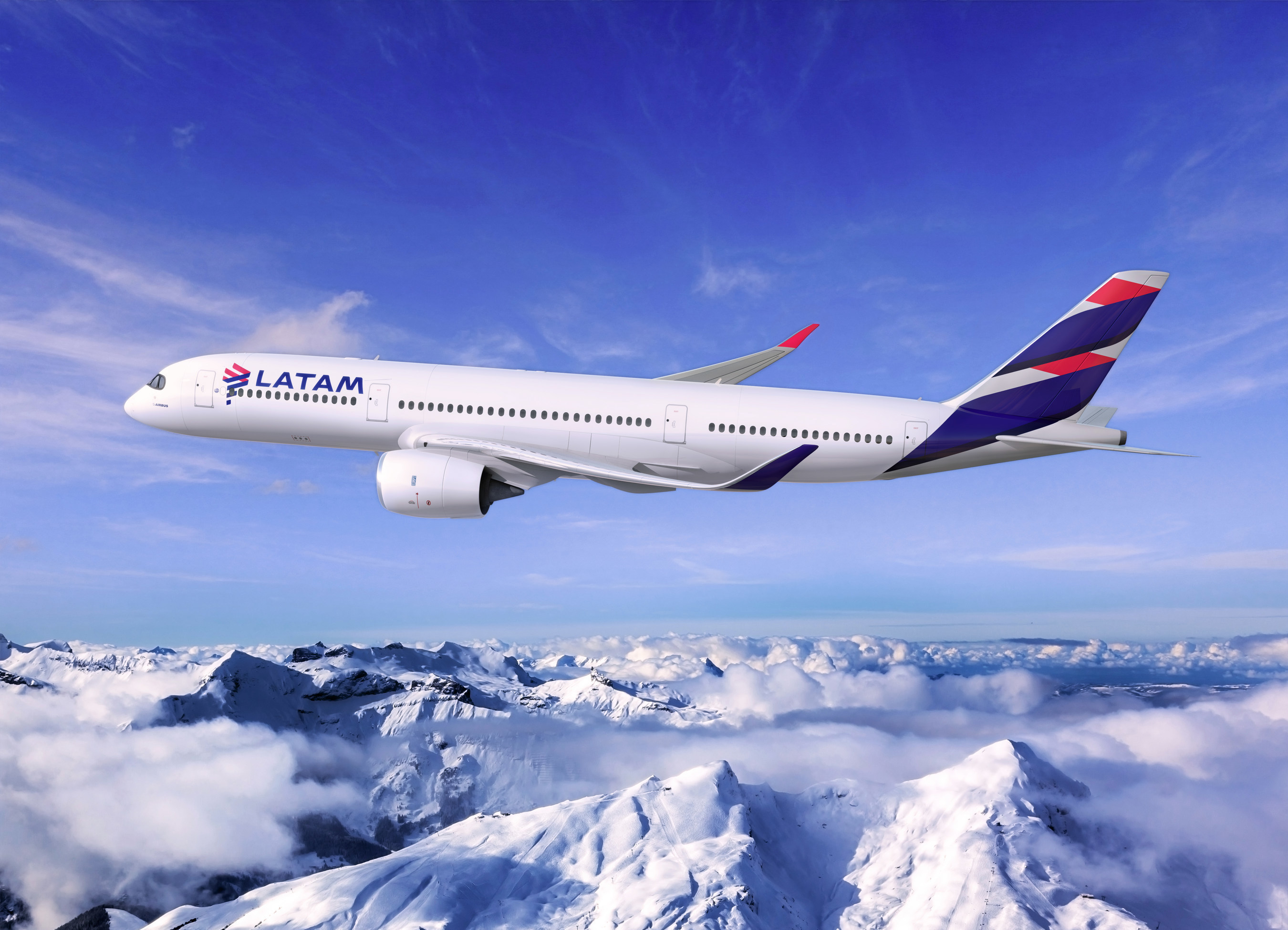 LATAM A350 over the Andes