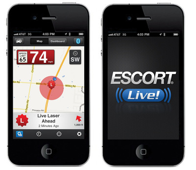 ESCORT Live! iPhone4 image.  (PRNewsFoto/ESCORT Inc.)