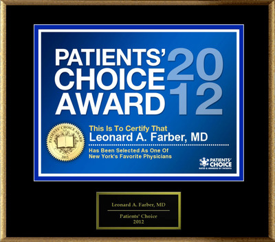 Dr. Farber of New York, NY, has been named a Patients' Choice Award Winner for 2012.  (PRNewsFoto/American Registry)