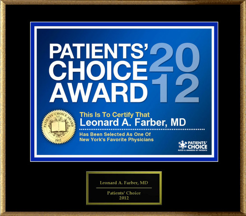 Dr. Farber of New York, NY, has been named a Patients' Choice Award Winner for 2012.  (PRNewsFoto/American ...