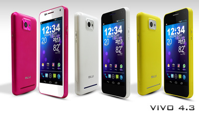 New VIVO 4.3 colors!  (PRNewsFoto/BLU Products)