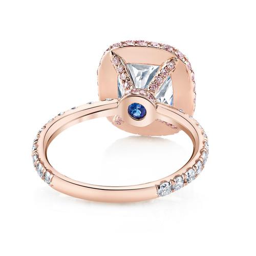 A blue sapphire Signature Stone featured in the EVA ROSE DUO diamond engagement ring design, part of the La Vie  ...