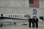 The first of three Cessna Citation CJ2 aircraft purchased by regional fractional aircraft ownership company Executive AirShare. Pictured (l-r.) Keith Plumb, Executive AirShare President & COO, Lannie O'Bannion, Regional Vice President of Cessna Sales for the Midwestern U.S. and Canada, and Bob Taylor, Chairman and CEO, Executive AirShare.  (PRNewsFoto/Executive AirShare)