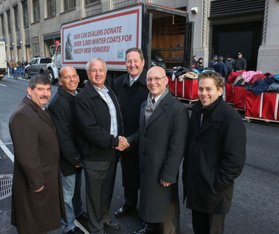 CAR DEALERS REV-UP COAT DRIVE: Tony Mazza (Lexus of Mt.Kisco, Westchester), Brian Miller (Manhattan Motorcars), Neale Kuperman (GNYADA Chairman), Nick Toomey (Rallye Motors, Long Island), Gary Bagley (New York Cares Executive Director), Aaron Berg (Sunrise Chevrolet, Queens). (PRNewsFoto/Greater New York Automobile Dealers Association) (PRNewsFoto/GREATER N.Y.  AUTOMOBILE DEALERS)