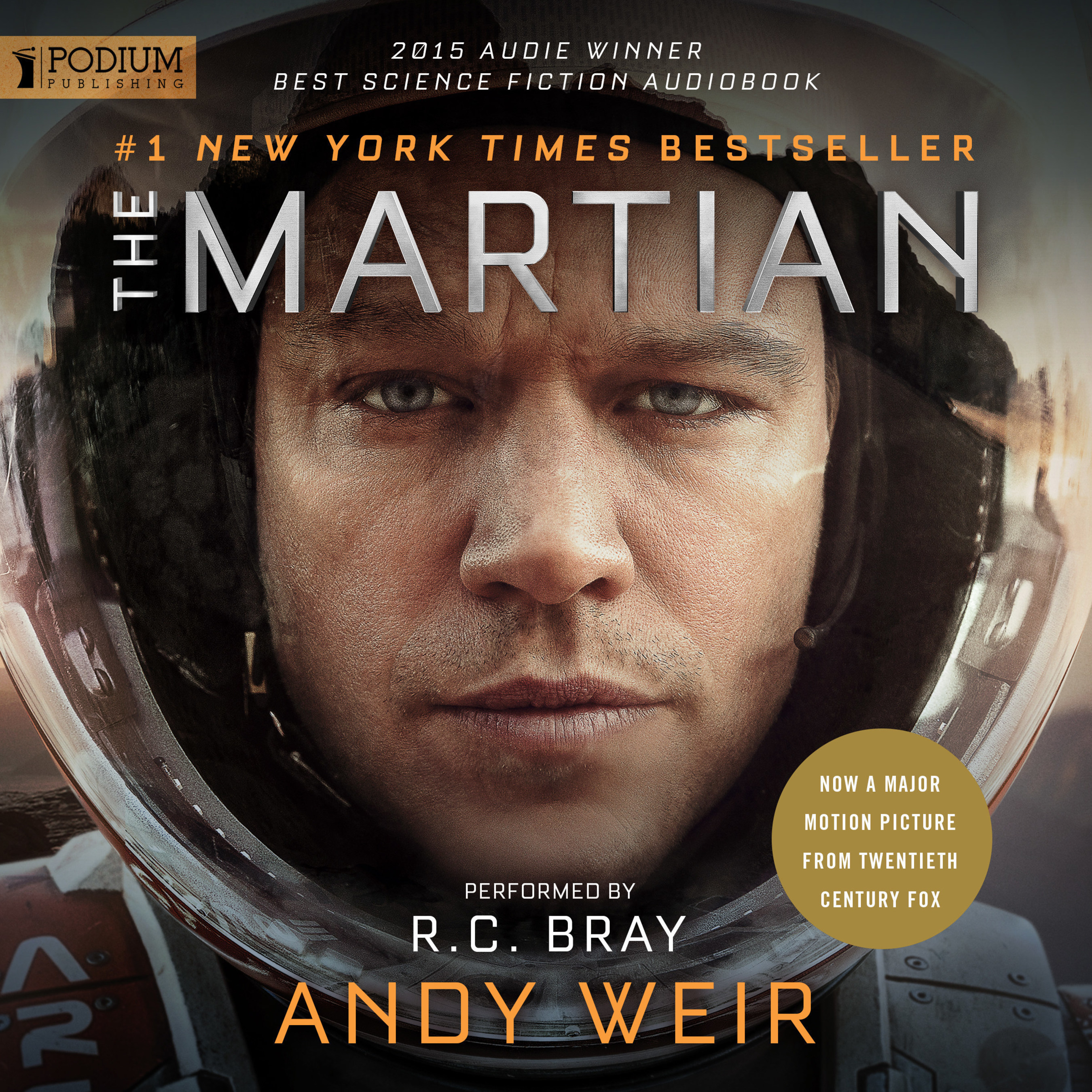 """Podium Publishing's audiobook version of Andy Weir's novel """"The Martian"""" has surpassed 100,000 ratings on Amazon's Audible.com, affirming it as one of the most beloved audiobooks ever produced. The Ridley Scott-directed film adaptation starring Matt Damon is nominated for seven Academy Awards, including Best Picture."""