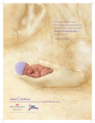 Baby Photographer Anne Geddes' NICU Image Supports Prematurity Awareness Month (PRNewsFoto/March of Dimes Foundation)