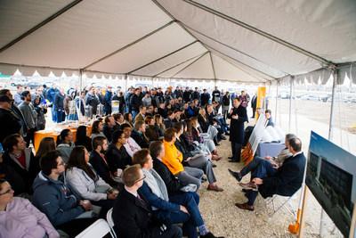 Governor Gary Herbert addresses Utah employees at the Vivint Solar corporate headquarters groundbreaking ceremony in Lehi, UT