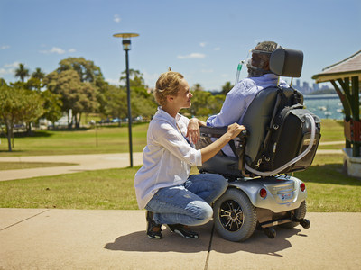 Two optional eight-hour external batteries for the Astral ventilator provide a total run-time of 24 hours. With this expanded mobility, chronically ill adult and pediatric patients who would otherwise be hospitalized can be safely treated away from the hospital for a more enriched life. (PRNewsFoto/ResMed Inc.)