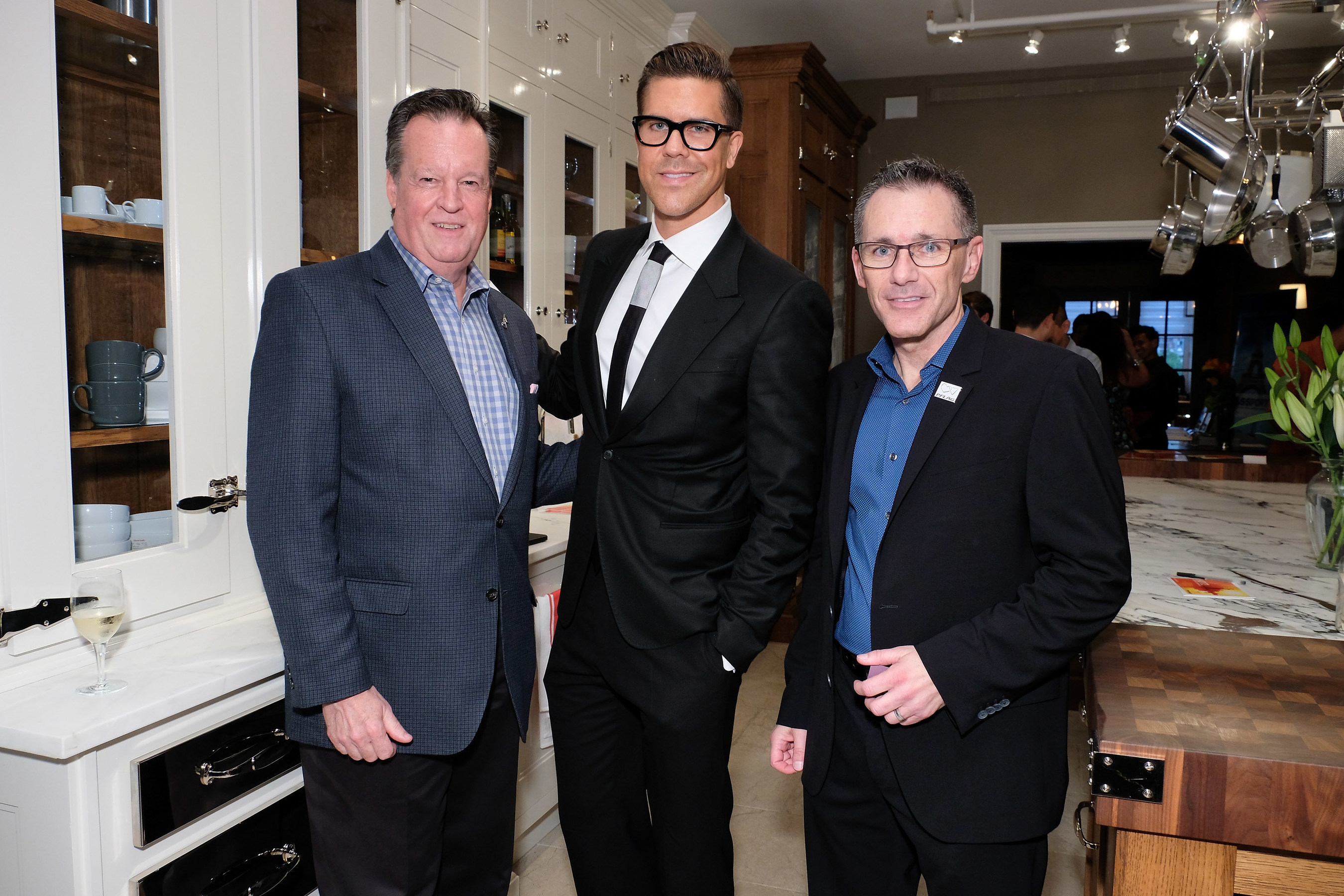 Jenn-Air brand marketing director Brian J. Maynard, Fredrik Eklund, and PFLAG National executive director Jody M. Huckaby attend the PFLAG HOT! event at the Jenn-Air Showroom on September 21, 2016 in New York City.D. Dipasupil/Getty Images for PFLAG National