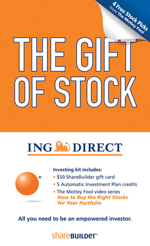 ING DIRECT USA's ShareBuilder Unveils the Gift of Stock for Holiday Wish Lists.  (PRNewsFoto/ING DIRECT USA)
