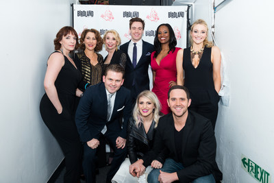 (Back row, left to right) Broadway Belts for PFF! cast members, Julia Murney, Randy Graff, Julie Halston, Erich Bergen, Zakiya Young, Betsy Wolfe (Front row, left to right) Bobby Creighton, Annaleigh Ashford, Santino Fontana. The Tony award-winning cast performed at the Broadway Belts for PFF! fundraiser to benefit the Pulmonary Fibrosis Foundation at Birdland in New York City on February 23, 2015. Photo by Mike Sheehan.